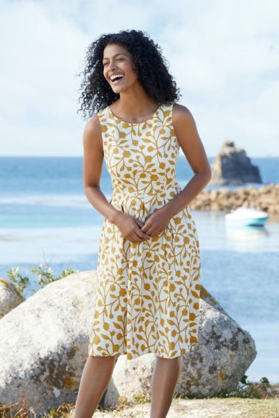 Merthen Dress Floral Silhouette Sandstone