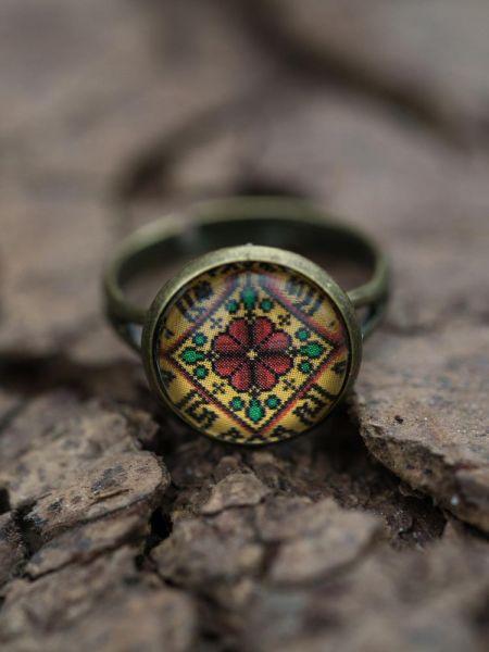 Ring bronze - Blume auf gelb