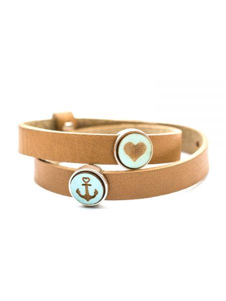 Armband mit Slider-Perle Holz-Anker und Herz blau