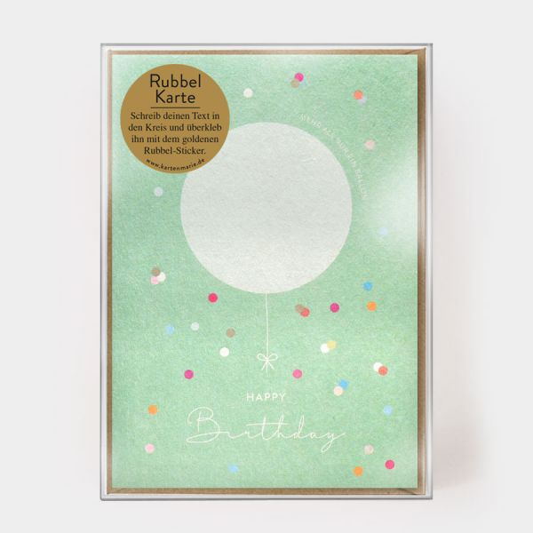 Happy Birthday Rubbelballon - Rubbelkarte