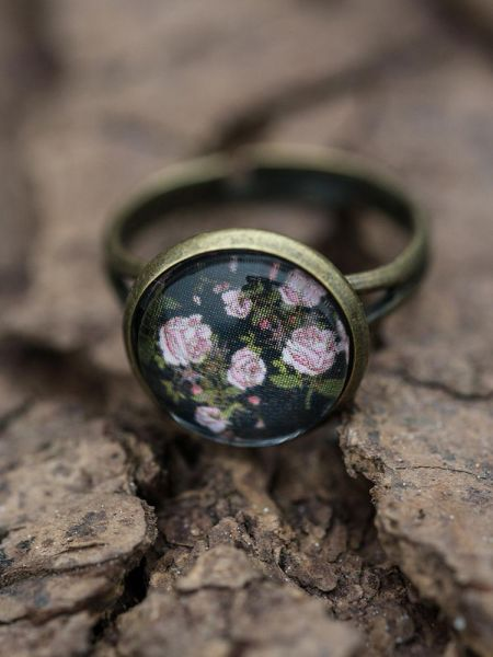 Ring bronze - Rosen auf schwarz 2