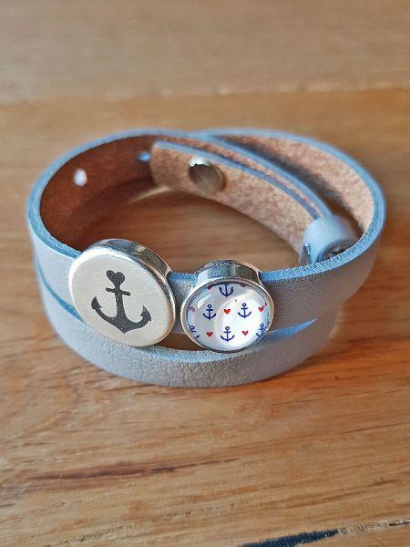 Armband mit Slider-Perle Anker grau