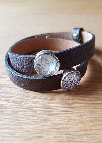 Armband mit Slider-Perlen braun - Vogel und Blumen