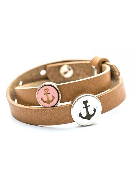 Armband mit Slider-Perle Holz-Anker rosa und Anker
