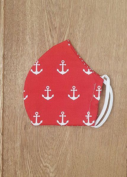 130541 Mund-Shirt leicht doppelseitig - Anker auf rot & rot/weiße Pünktchen