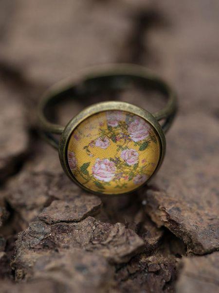 Ring bronze - Rosen auf gelb
