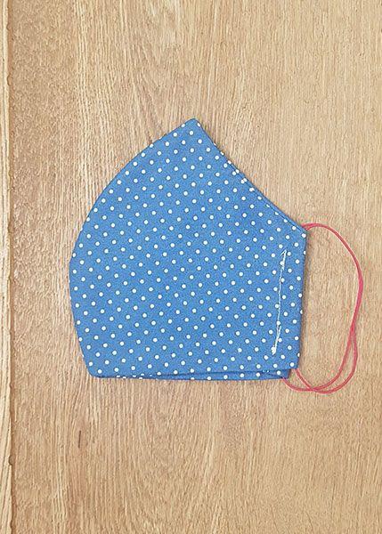 130523 Mund-Shirt leicht - dunkelblau, weiße Pünktchen