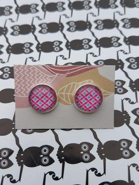 Ohrschmuck Muster pink-blau