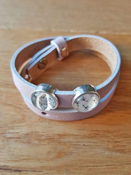 Armband mit Slider-Perlen rosa Feder/ Pusteblume