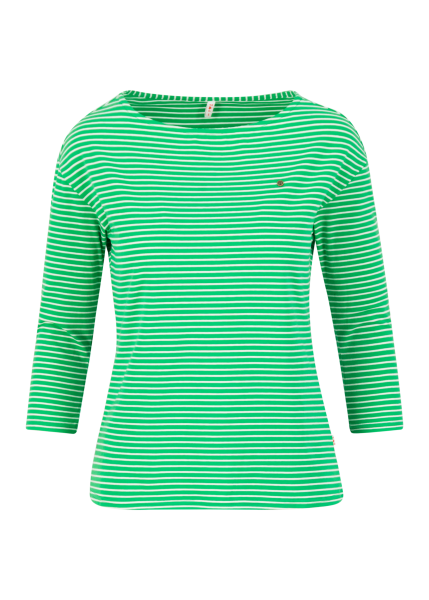 logo stripe 3/4 arm shirt - green tiny stripe