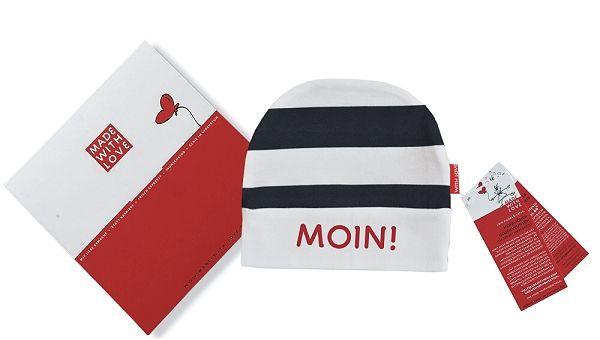 """Umschlagmütze mit Ringeldruck """"Moin"""""""