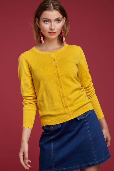 Cardi Roundneck Droplet - Mimosa Yellow