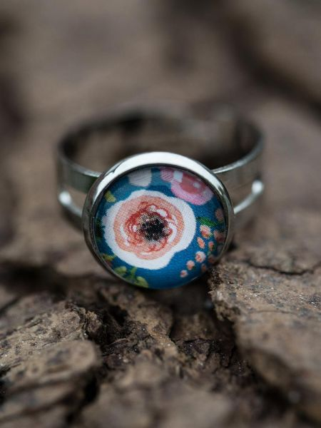 Ring silber - Blumen 5