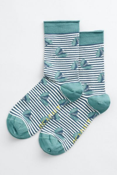Women's Bamboo Arty Socks Butterfly Stripe Storm