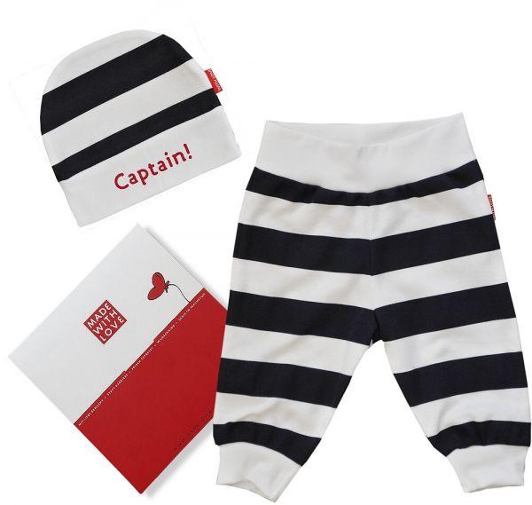 "Babyhose/ Leggings mit Bündchen + Ringelmütze ""Captain!"""