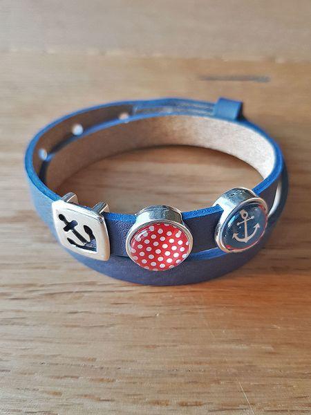 Armband mit Slider-Perle Anker/ Polka dots blau