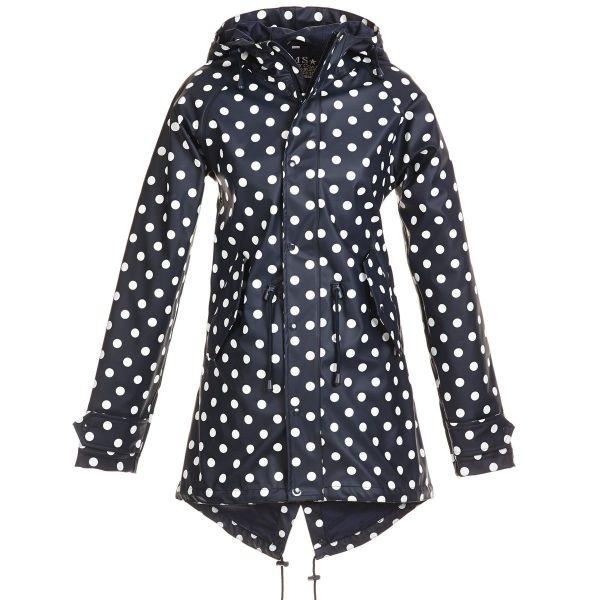 HafenCity Coat SoftSkin Mantel blau weiße Punkte