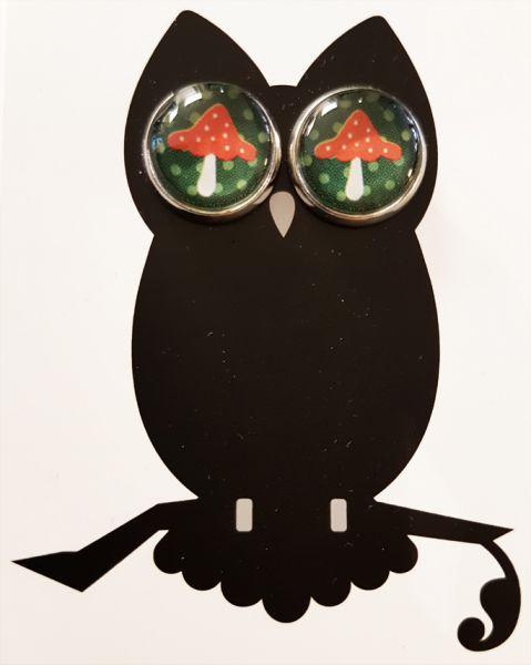 Ohrstecker Fliegenpilz dunkel-grün