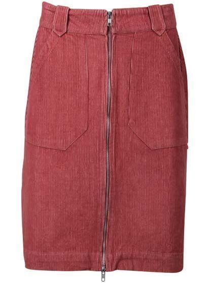 Madelaine Cord Skirt - Grey Rose