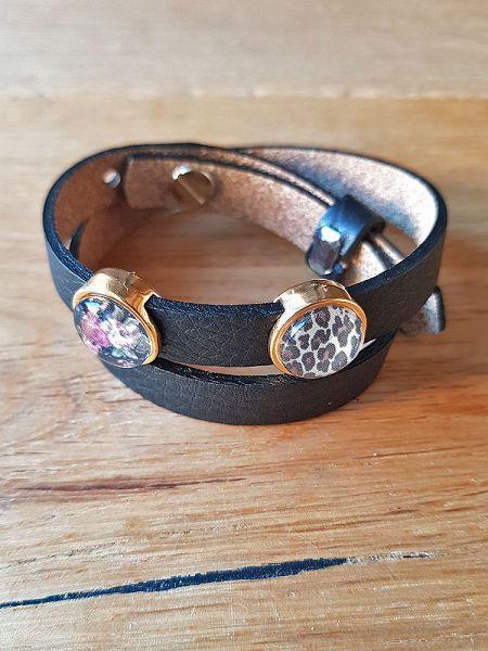 Armband mit Slider-Perlen schwarz Blumen/Leo