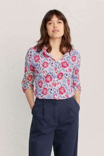 Larissa Shirt Lino Poppies Chalk