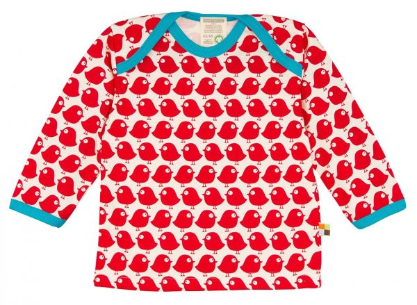 Shirt Langarm Vogel - tomato