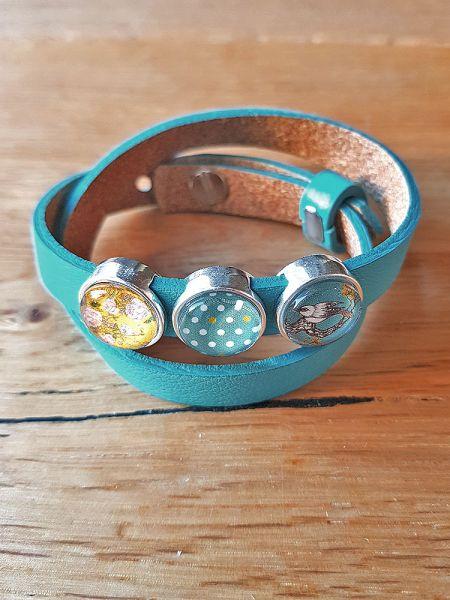 Armband mit Slider-Perlen türkis/gelb