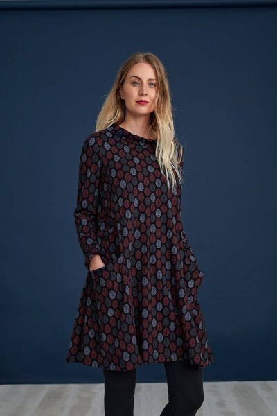 Sea Oak Dress Printed Leaf Black
