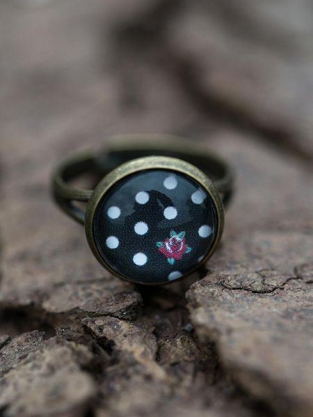 Ring bronze - Polka dots & Rose schwarz
