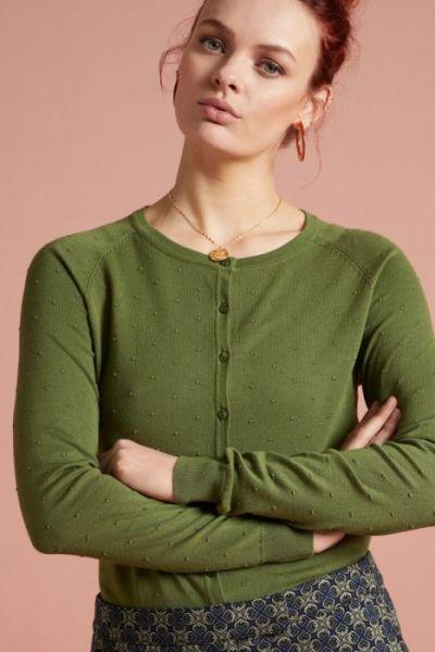 Cardi Raglan Roundneck Droplet - Olive Green