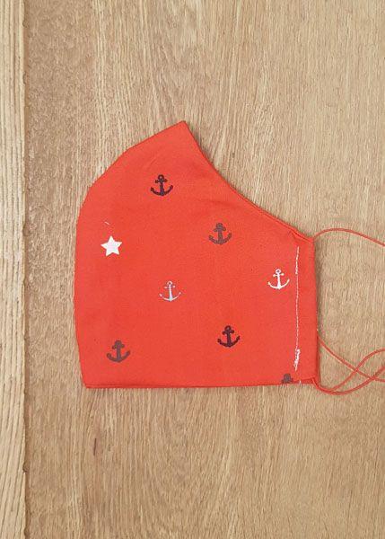 130534 Mund-Shirt leicht - Anker auf rot