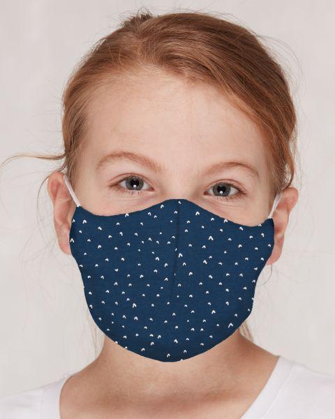 Mund - und Nasenmaske für Kinder - Herzchen ultramarin